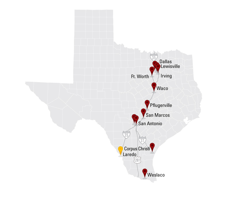 Texas First Rental Location Map