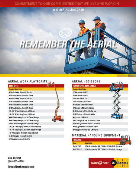 English Aerial Equipment Line Card